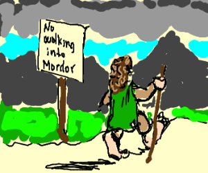 Frodo with long curly hair, ignores sign