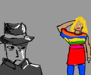 Noir Detective Suspicious of Colorful Broad