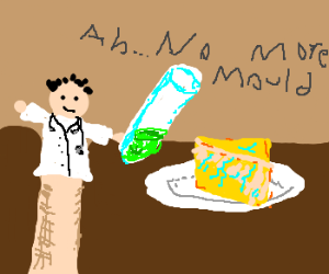 Dr Handpuppet finds the cure for moldy cheese!