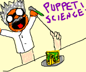 puppet scientist pours mold onto cheese