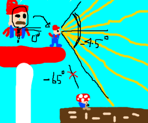 Mario cant see Toad. His neck can't bend down.