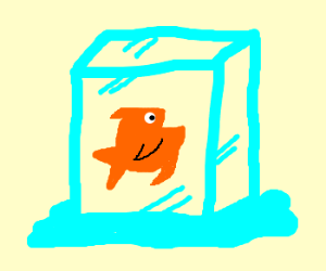 Fish encased in ice