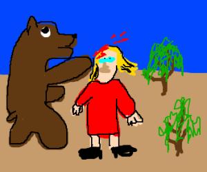 bear punches woman till she bleeds