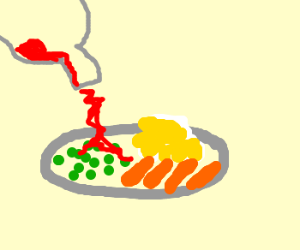 peas with potatoes with carrots and ketchup