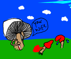 murder-suggesting-mushroom says your wife
