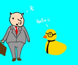 Business pig meets nerd duck