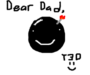Son draws a bomb in a note to father