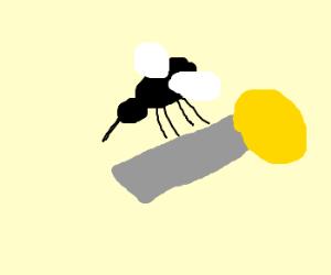 Giant mosquito picks up street lamp.