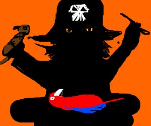 tribal pirate sacrifices a parrot