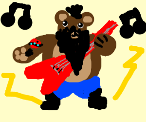 Heavy teddy beard rockband