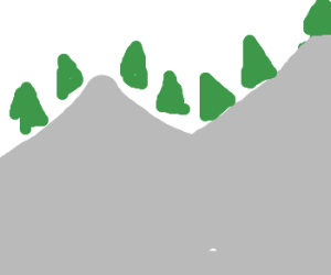 abstract painting of pine trees on mountain