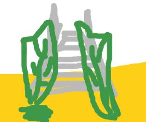 Leaf-door to stairway to heaven in acid desert