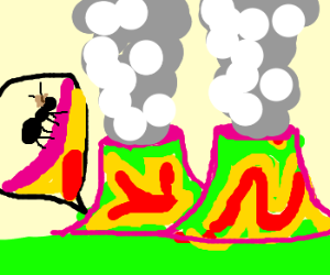 Insect explores a psychedelic nuclear plant.