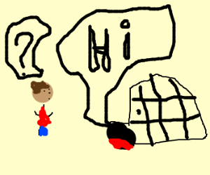 an iglo and a man talking