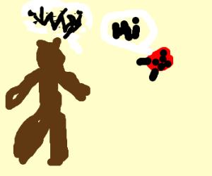 bear question why a ladybug says hi