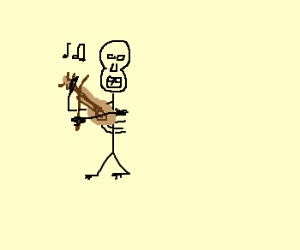 AWESOME Drawing of Skeleton Playing Violin :)
