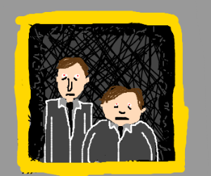 creepy family portrait of two brothers