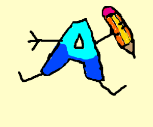 Letter A mimics Drawception letter D