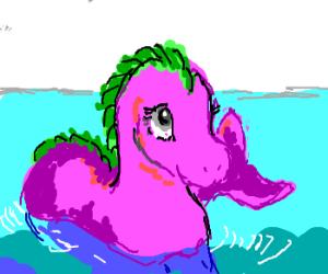 Adorable Loch Ness Monster w/ sunburn