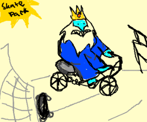 Ice King bikes his way through a skate park