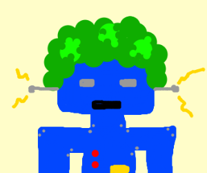 Blue robot with poofy green hair