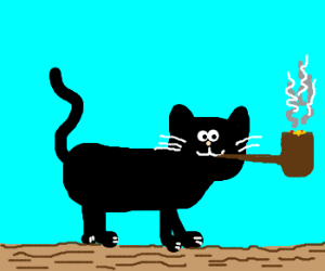 Cat Smokes a Pipe That's Too Big for Him!