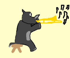 Rhinoceros playing trombone