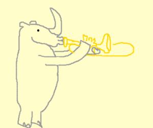 Rhinoceros playing the trombone