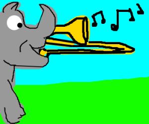 A rhino playing the trombone