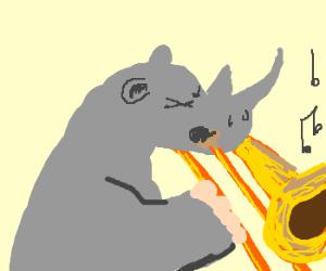 rhino playing a trombone