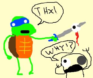 Ninja turtle steals a guy's eye.
