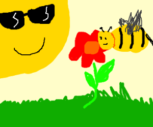 Cool sun smiles at bee by flower