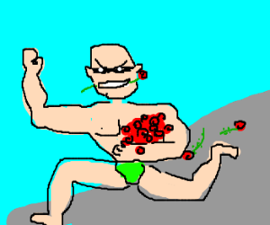 buff guy stealing roses