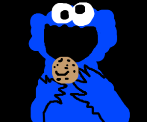 Cookie Monster about to eat a happy cookie.