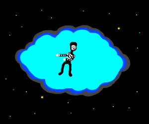 Mime in a blue space cloud