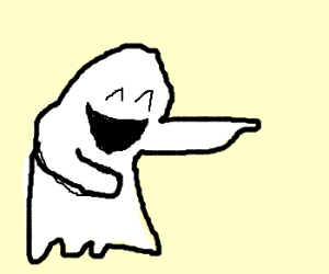 ghost pointing and laughing