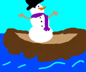 snowman on a boat