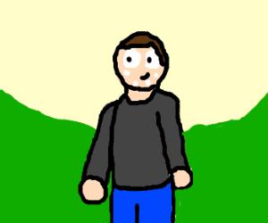 white dot head man in green valley