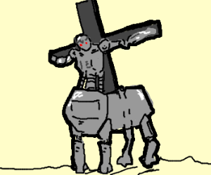 So.. Jesus is now a centaur made out of steel?