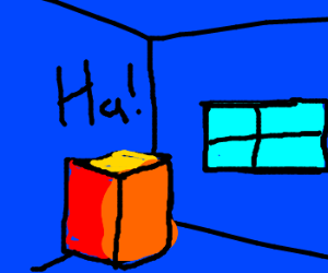 Cube laughs at the window