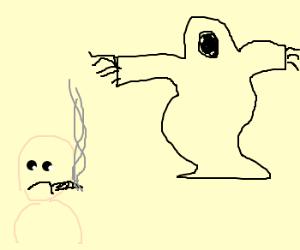 Shadow of Death stalks junkie man.