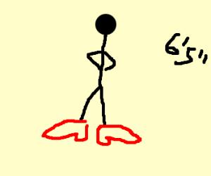 Stickmen fighe on giant's high heels