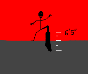"""Stick man with 6'5"""" boots"""