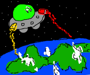 UFO spraying ketchup and mustard over earth