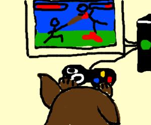 Dog plays Xbox