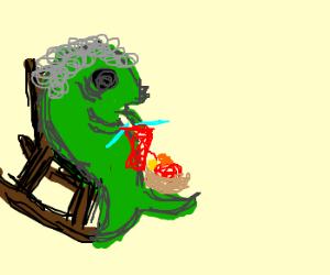 Fat fish grandma knitting in a rocking chair