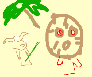 Yoda and the Coconut man discuss the trees