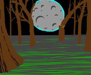 Moon falling into a forest.
