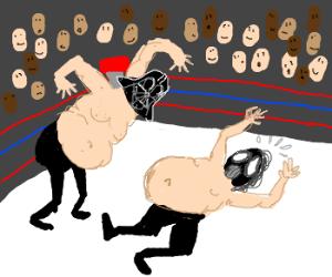 fat wrestler: Vader Time, mouthless Bane mask