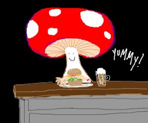 Mushroom orders a Limburger from the bar.